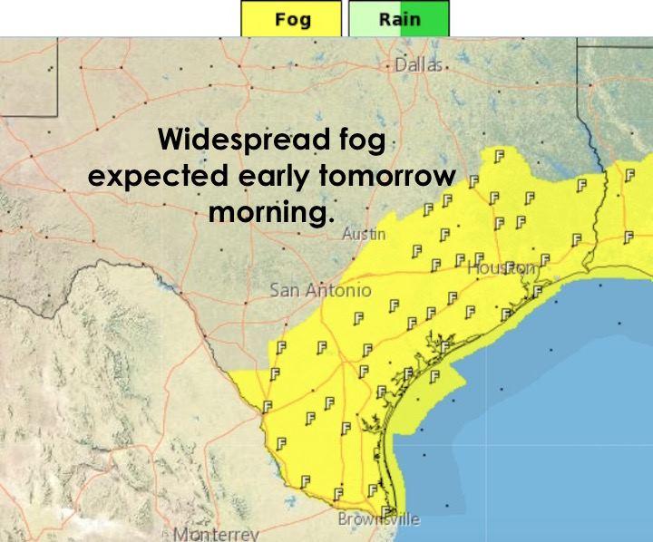 Fog early Tuesday