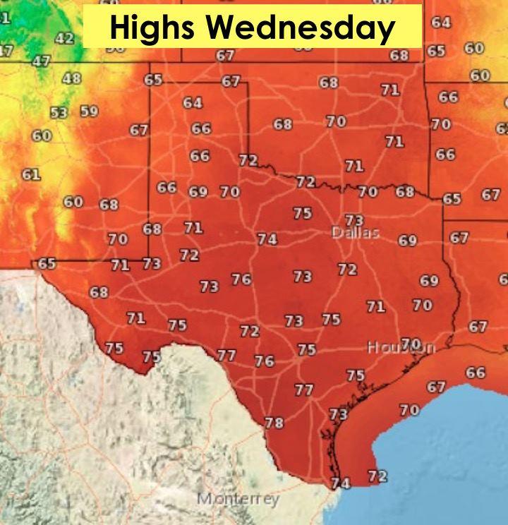 Highs Wednesday