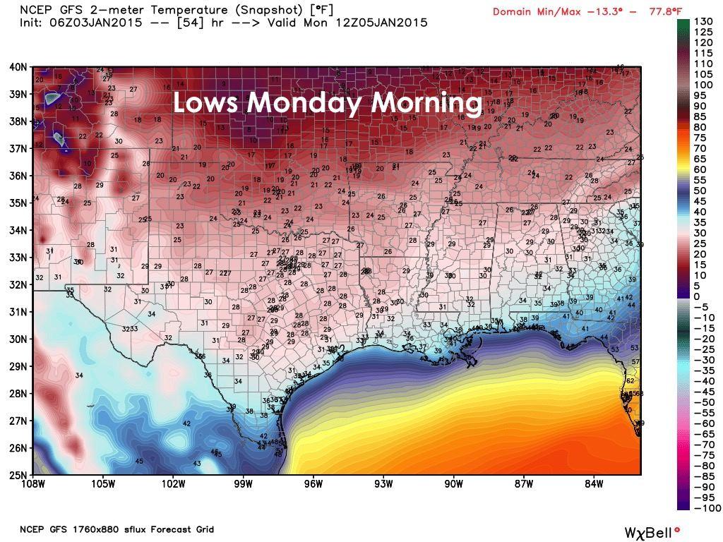 Lows Monday Morning