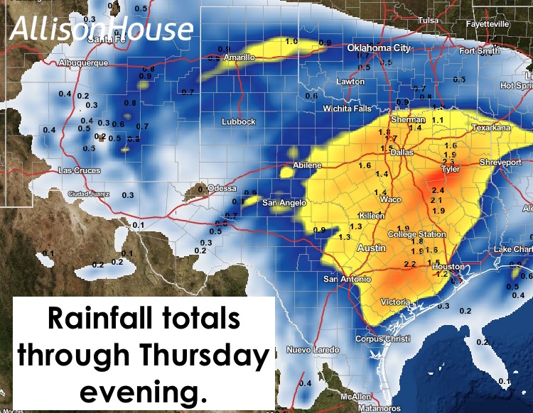 Rainfall through Thurs Evening