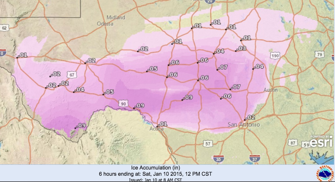 Ice Accumulations Expected Today