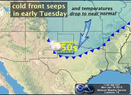 cold front early Tuesday