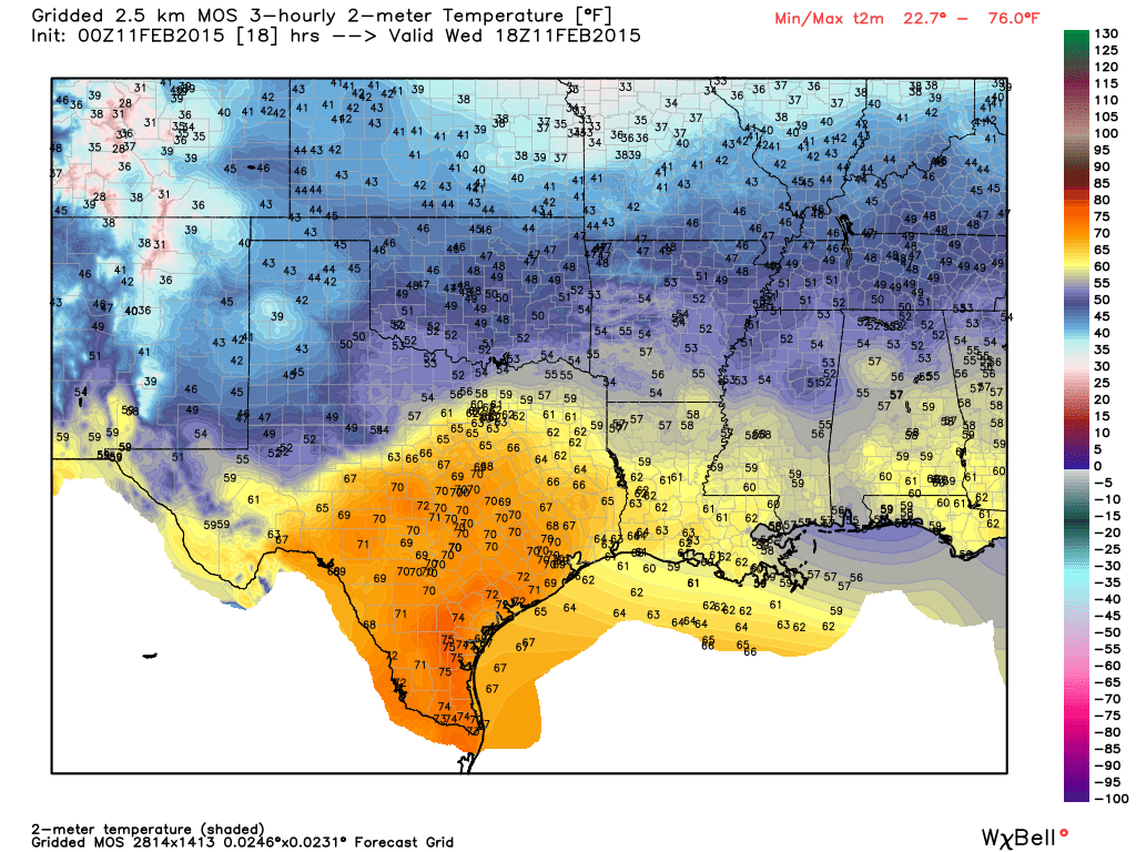 Temperature forecast at noon - Graphic from WeatherBell.com
