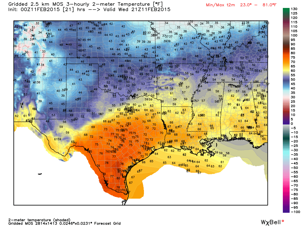 Temperature forecast at 3 PM - Graphic from WeatherBell.com