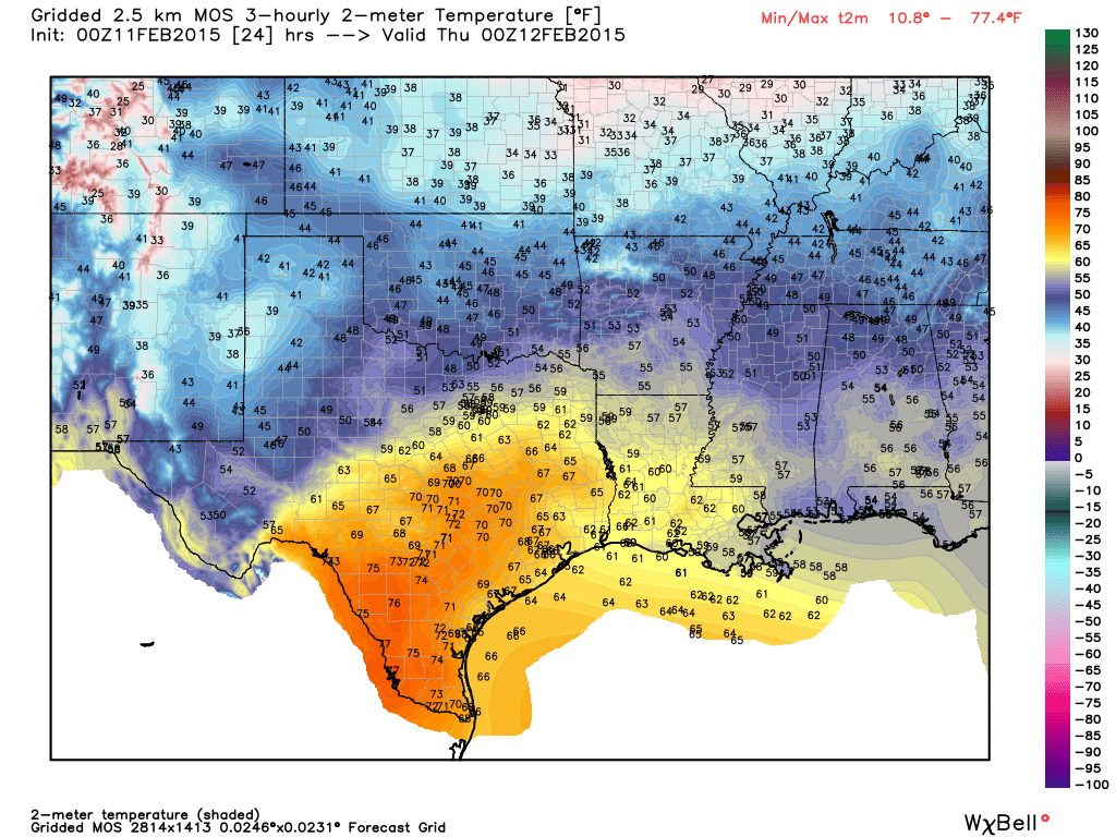 Temperature forecast at 6 PM - Graphic from WeatherBell.com