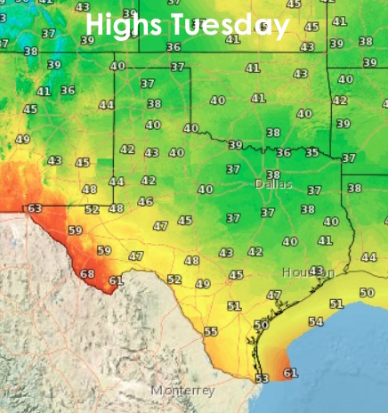 Highs on Tuesday