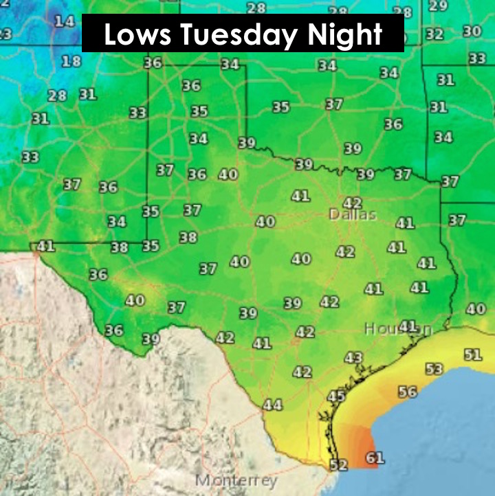 Lows Tuesday night