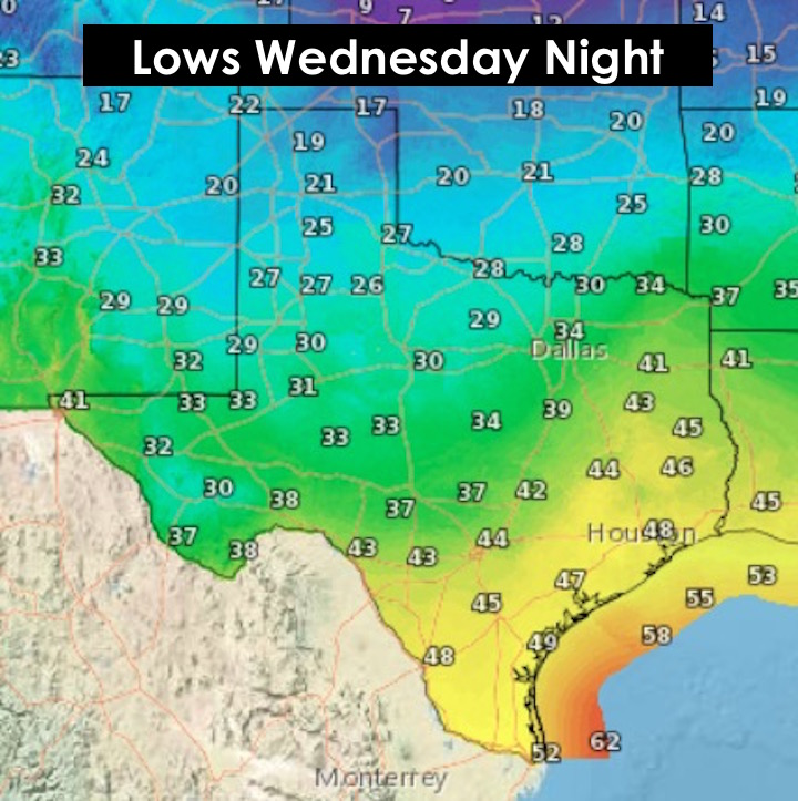 Lows Wendesday Night