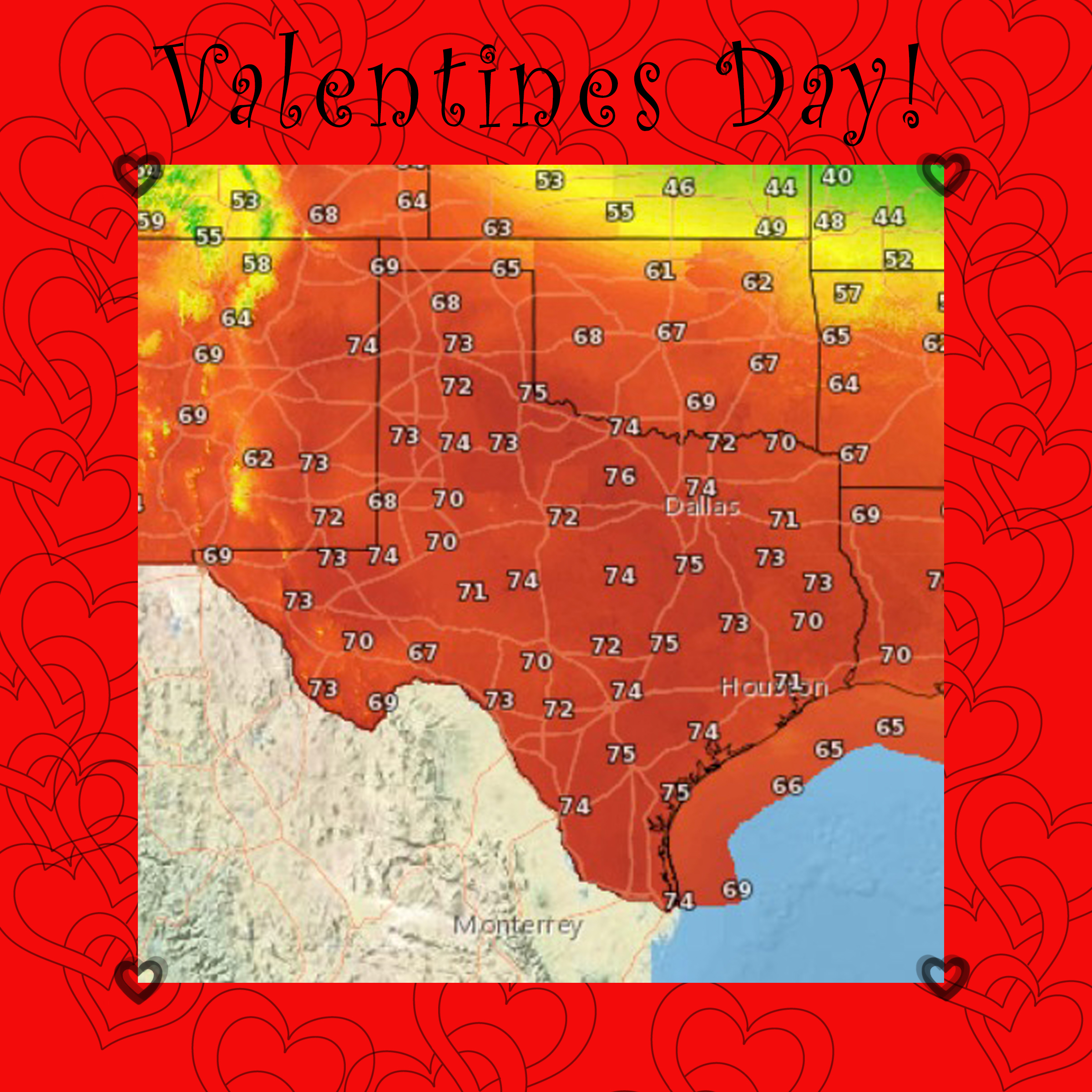 Valentines Day Forecast Highs