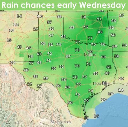Rain chances early Wednesday