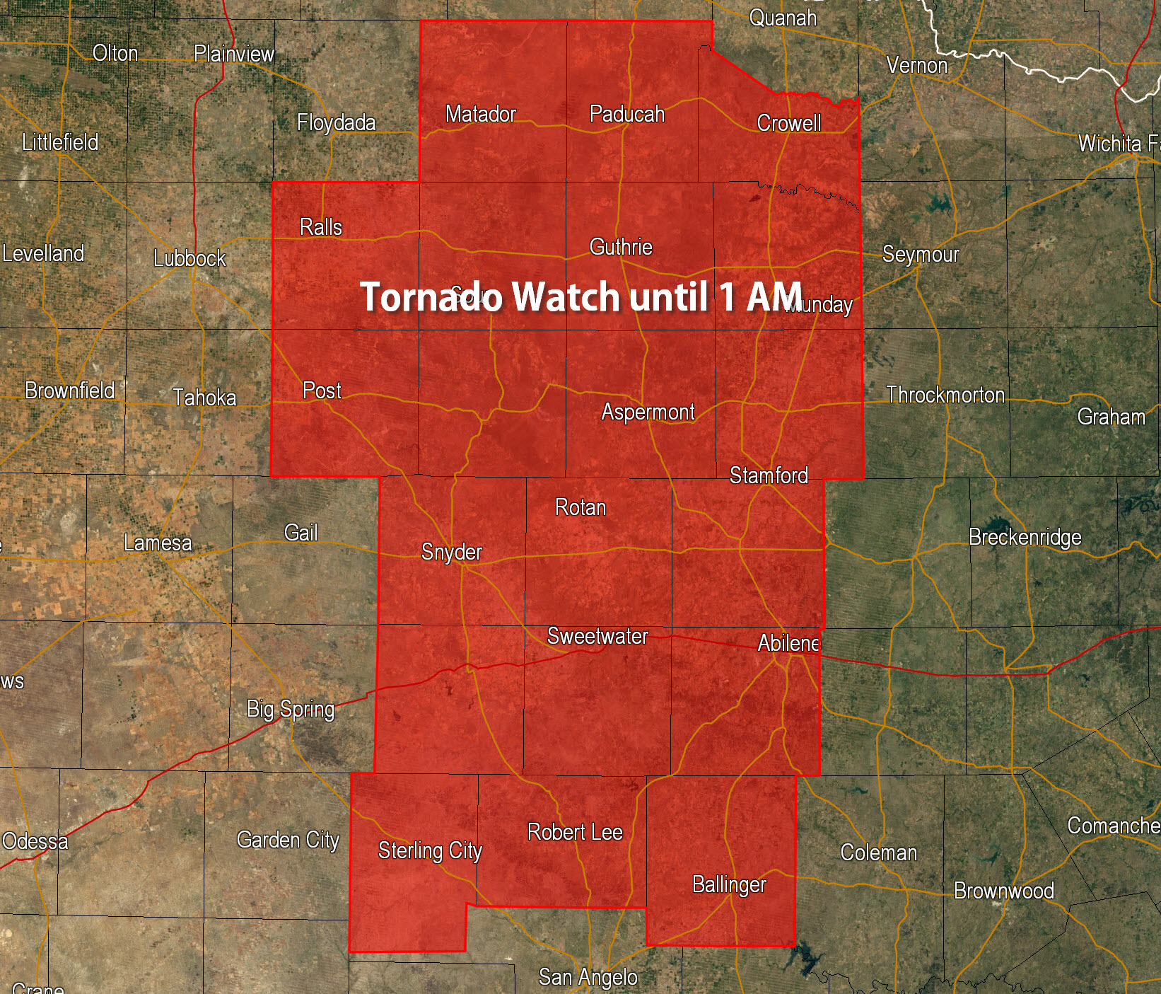 Tornado Watch until 1 AM for West Central Texas • Texas Storm Chasers