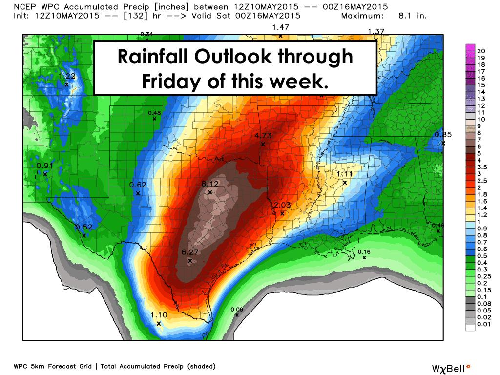Rainfall forecast through Friday