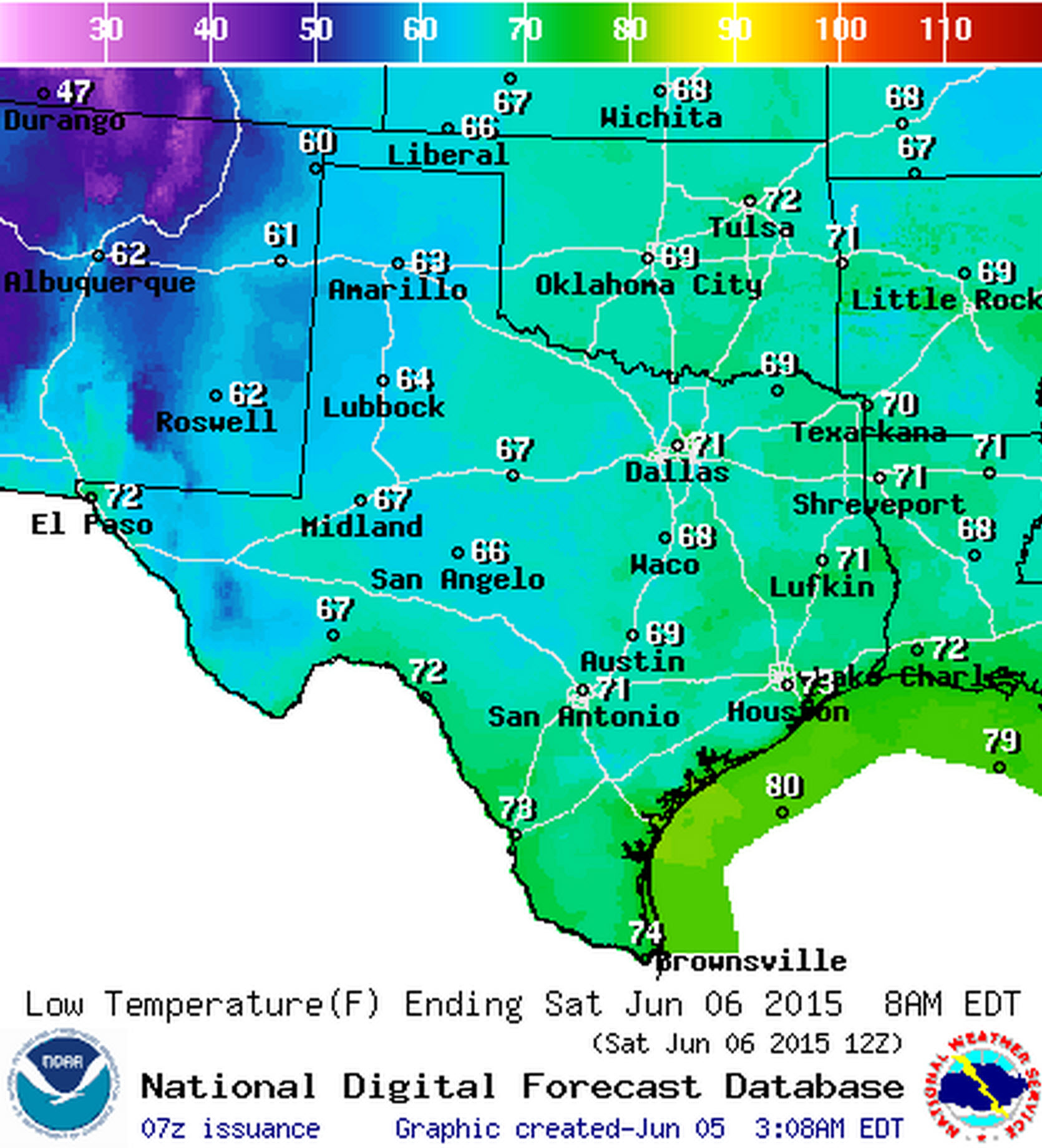 Saturday Morning Low Temperature Forecast