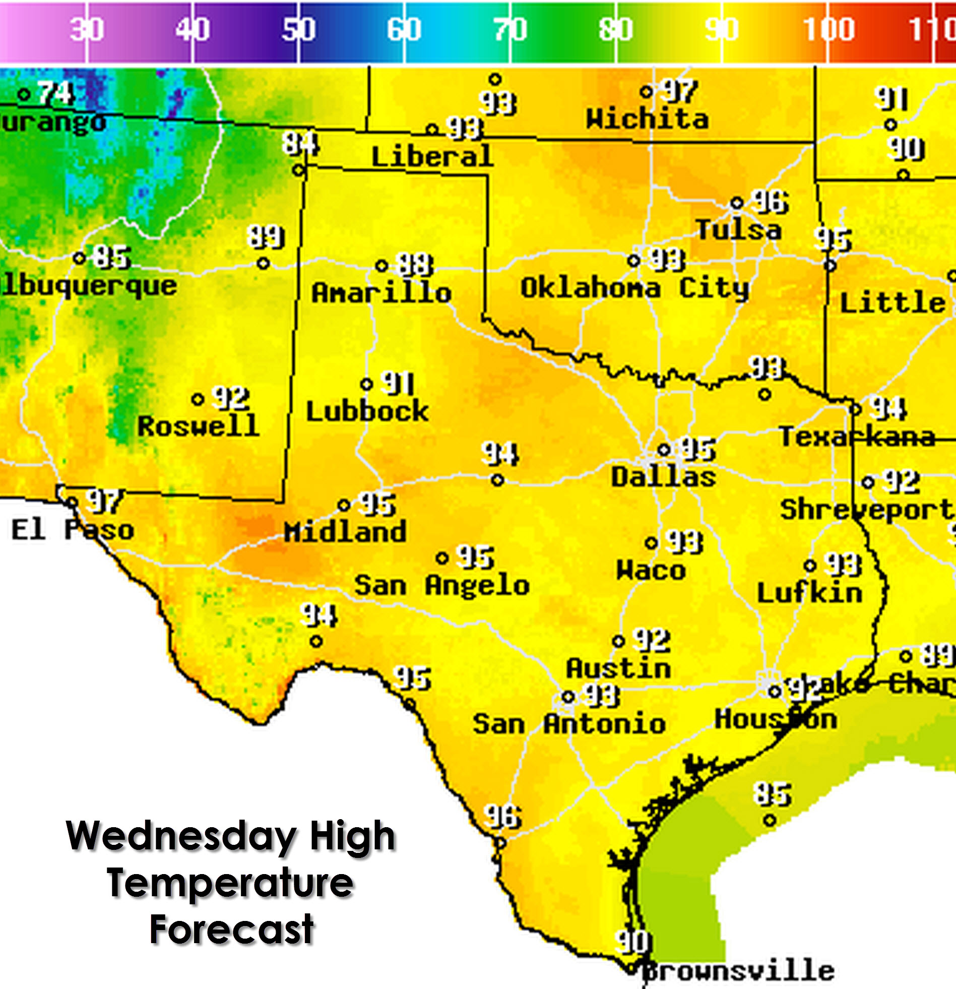Wednesday, June 10, high temperature forecast