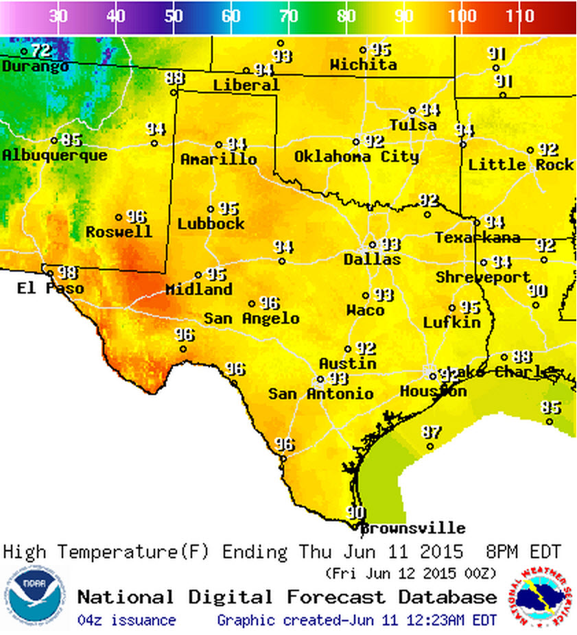 High temperature forecast today ,June 11