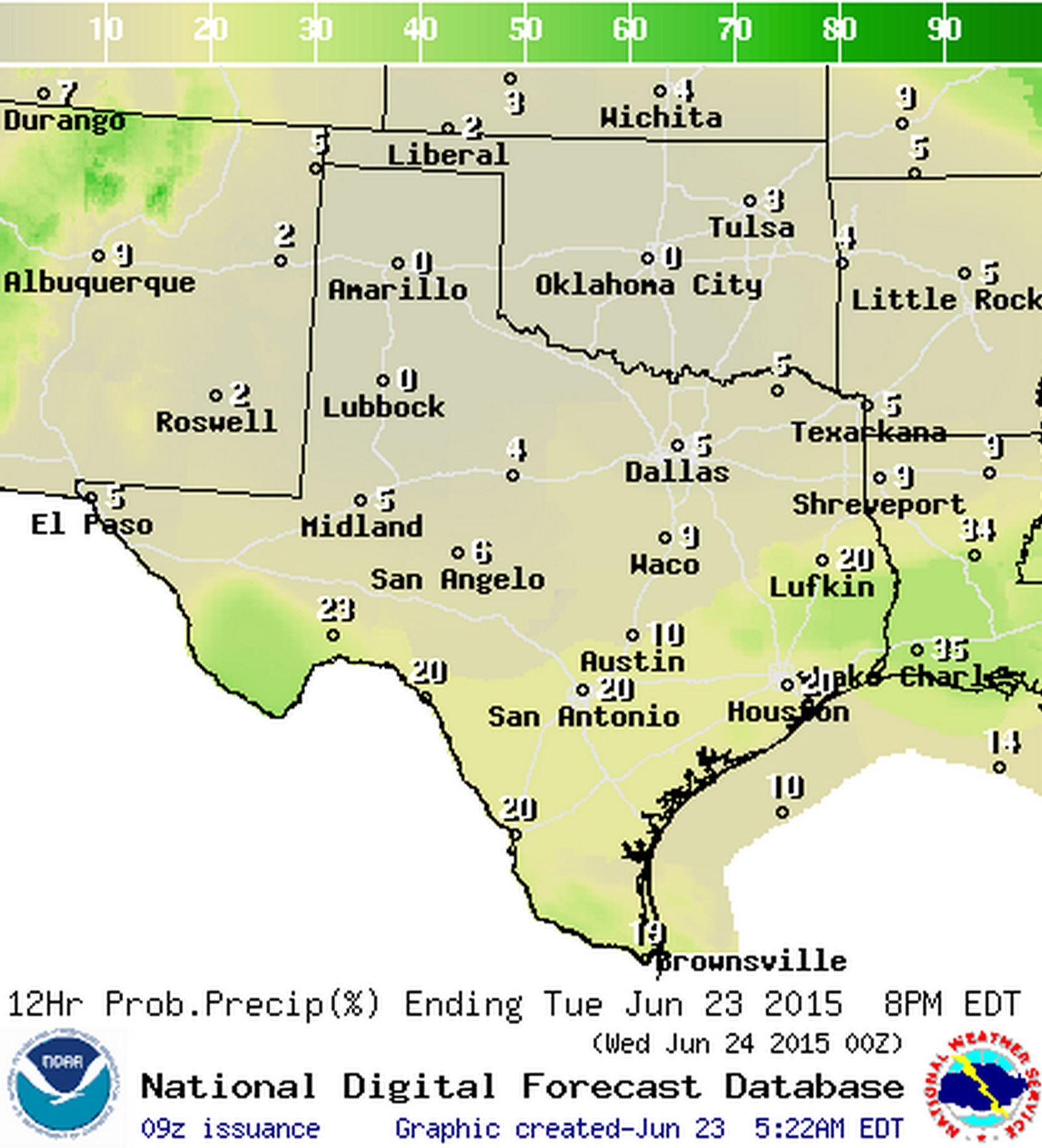 Chance of rain today (%)