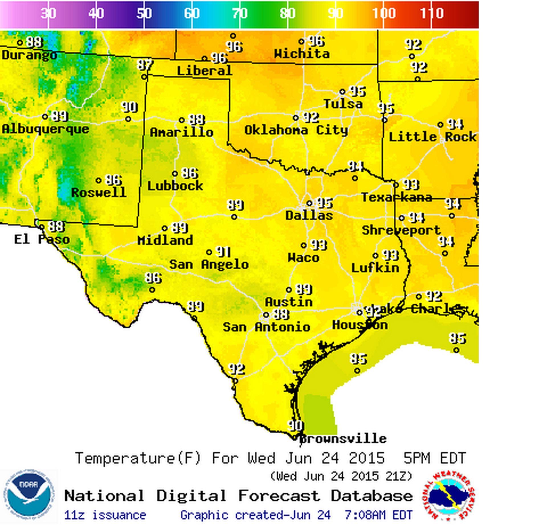 Wednesday's High Temperature Forecast