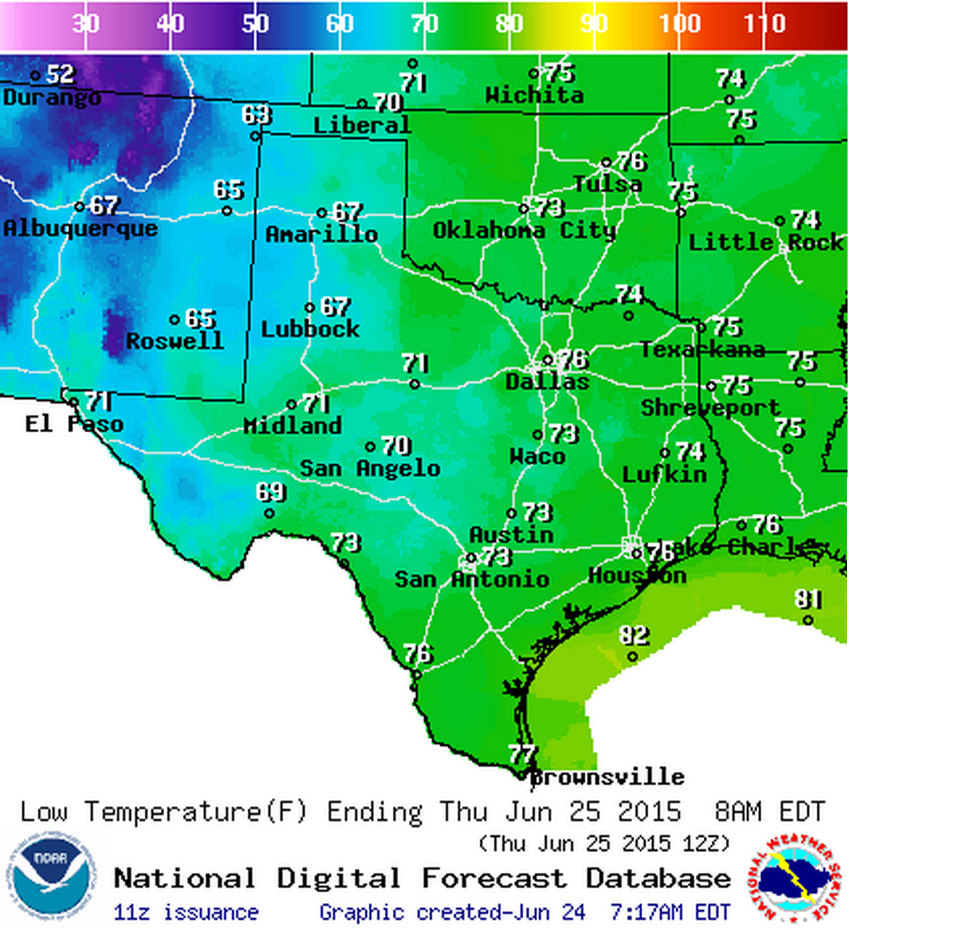 Wednesday Night's low temperature forecast