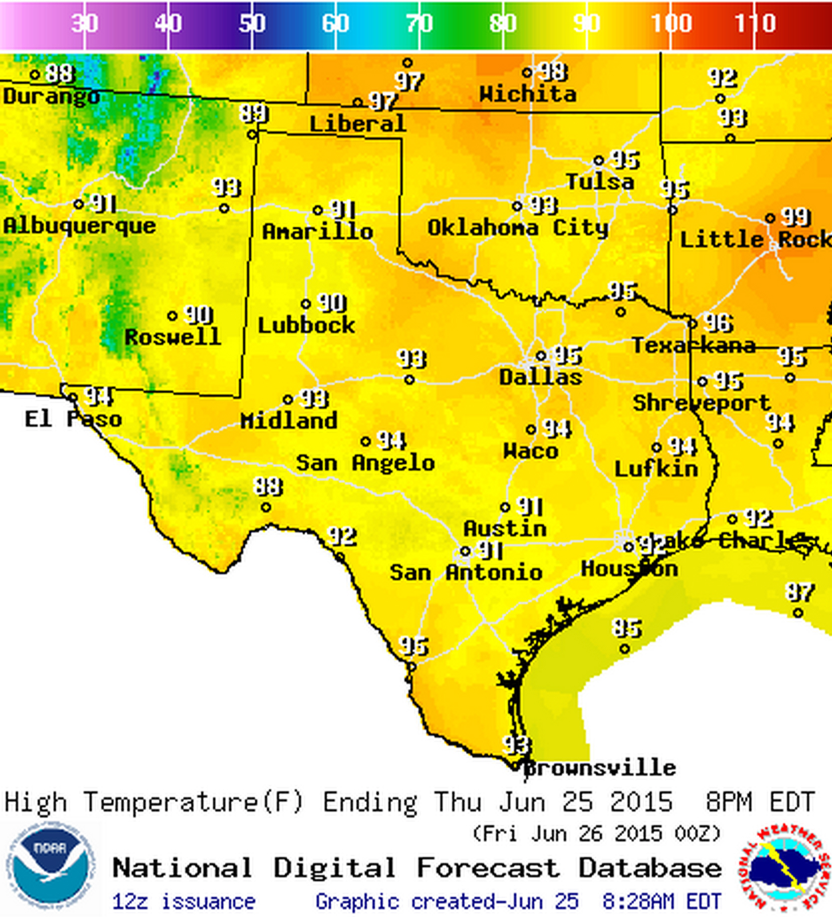 High temperature forecast today