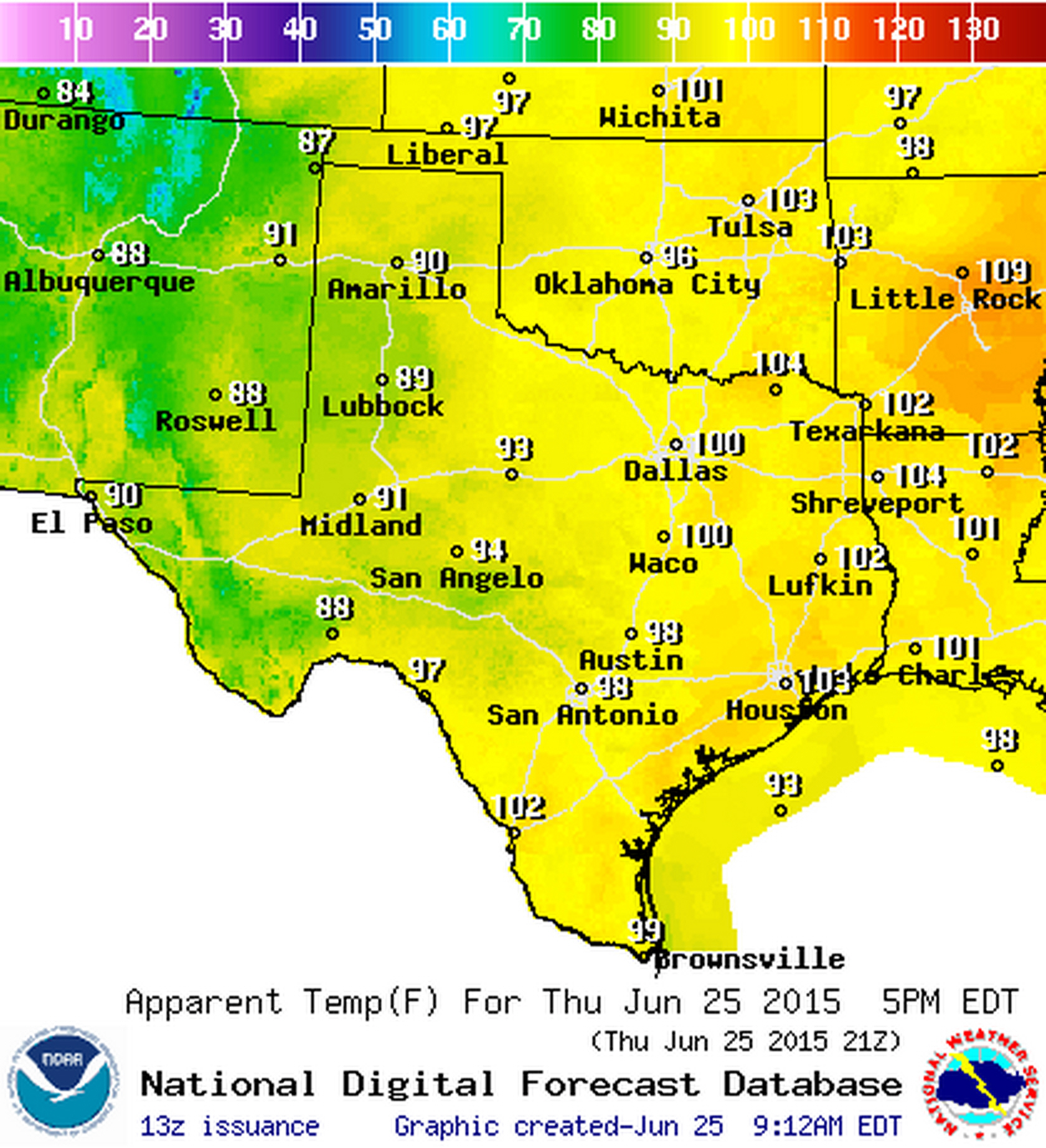 Heat index values expected at 5 PM this afternoon