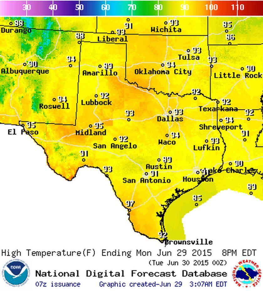 Monday (June 29) High Temperature Forecast