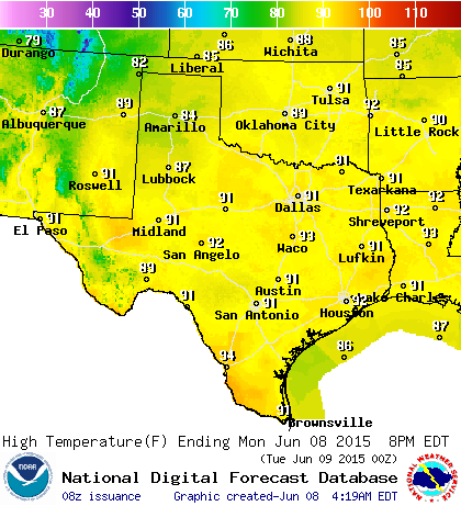 High Temperature Forecast for Today