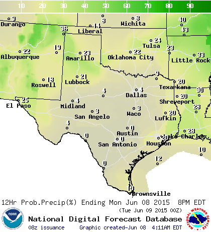 Chance of rain/storms in percent today