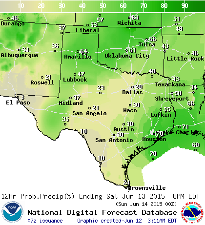 Chance of rain/storms on Saturday