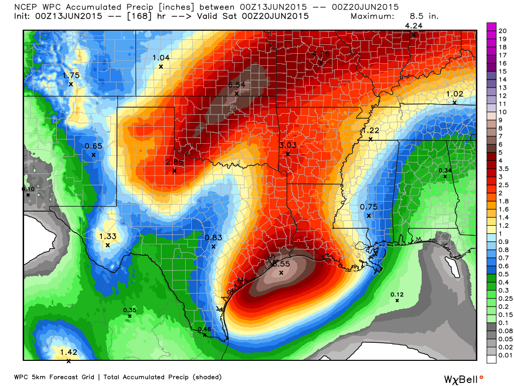 7-Day rain total forecast from the Weather Prediction Center