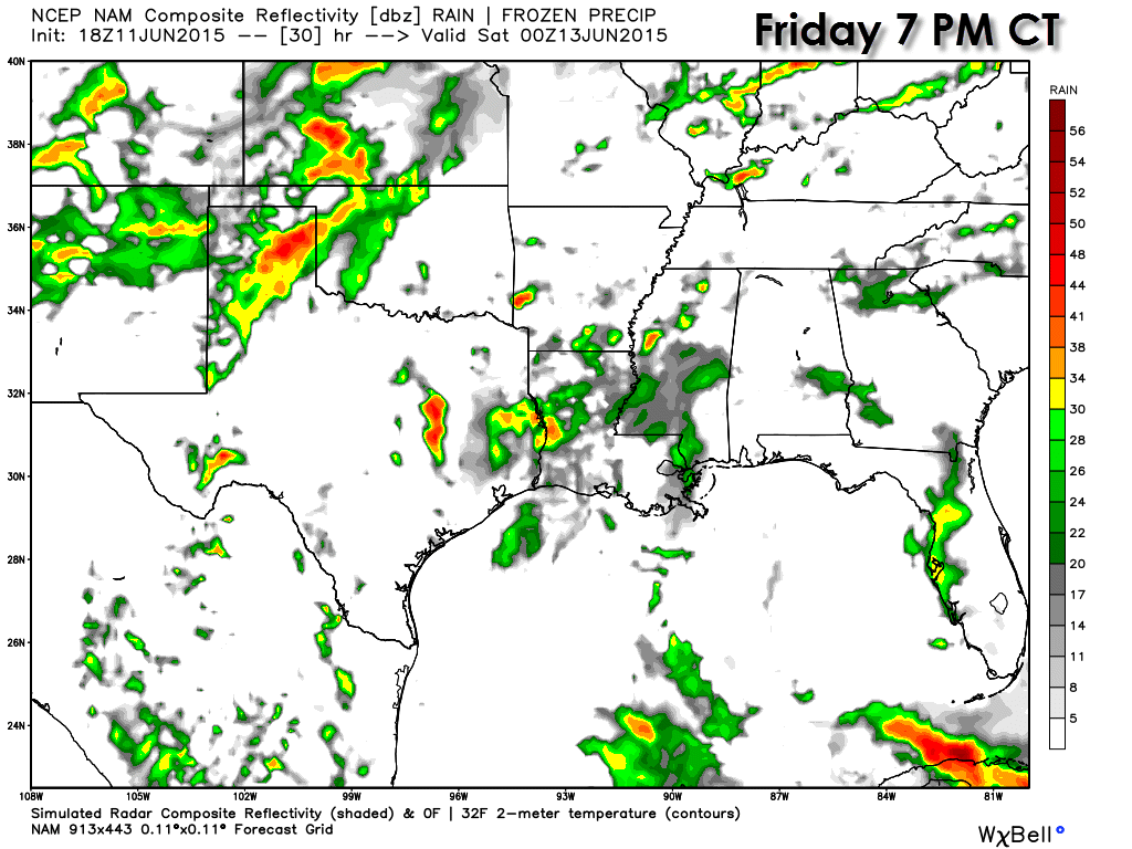 Weather model simulated radar at 7 PM Friday