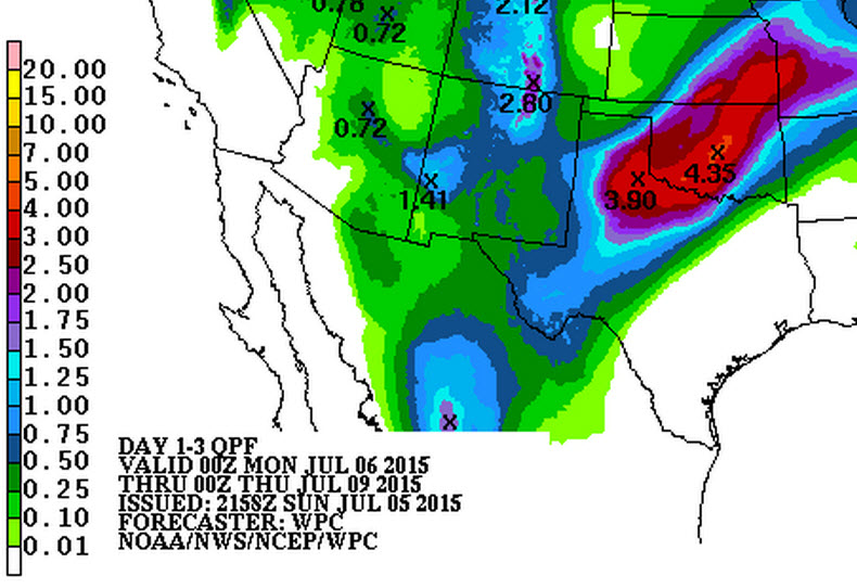 Forecast rain totals through Thursday morning from the Weather Prediction Center