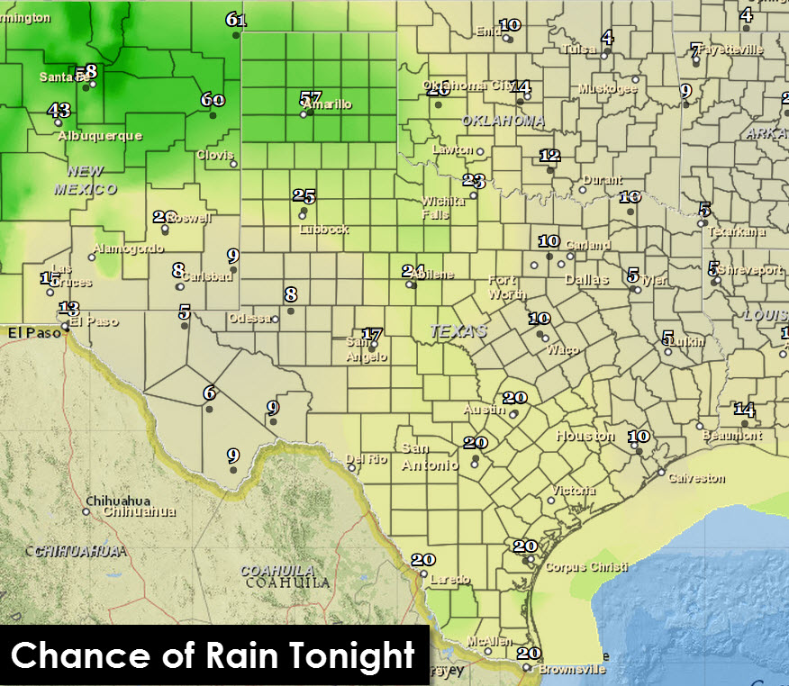 Chance of Rain/Storms Tonight