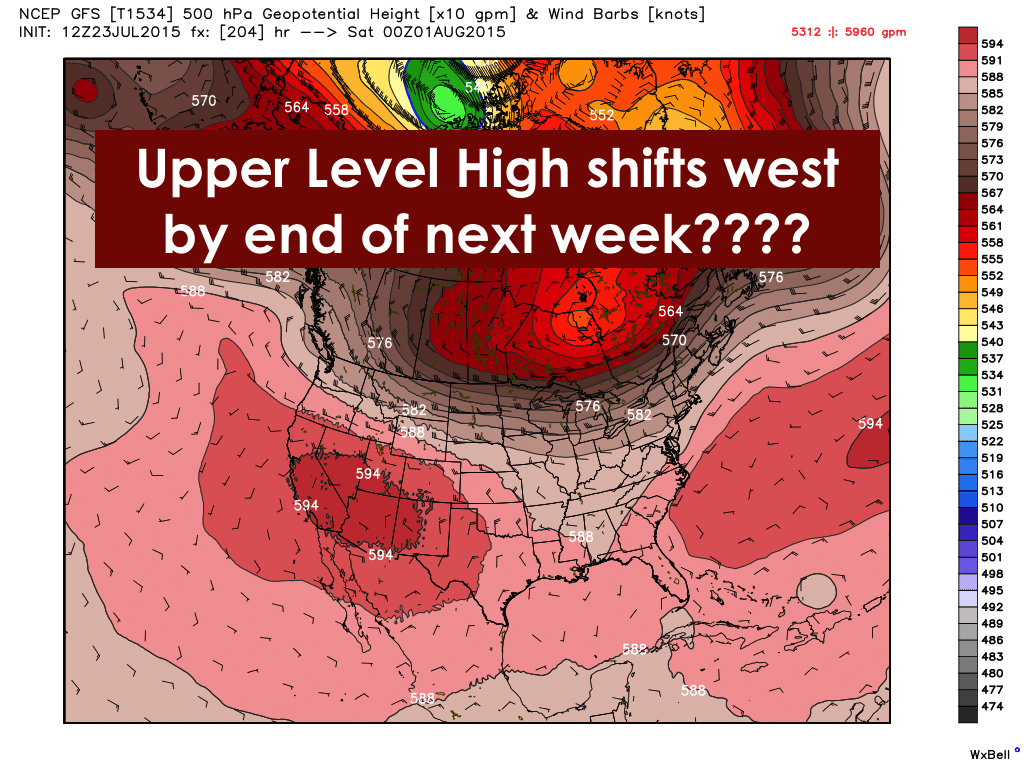 Weeks end high pres shifts west