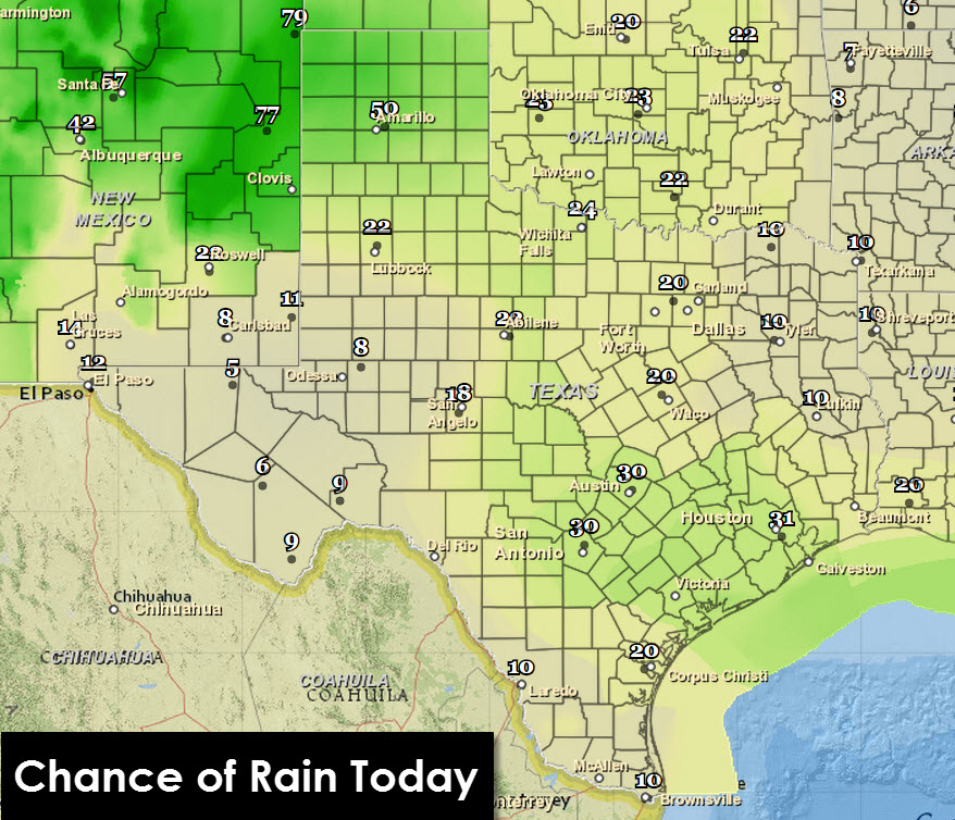 Chance of Rain/Storms Today