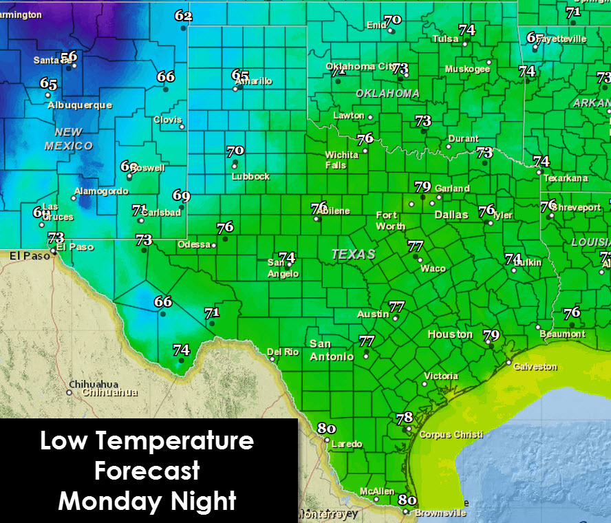Low temperature forecast for tonight into Tuesday morning