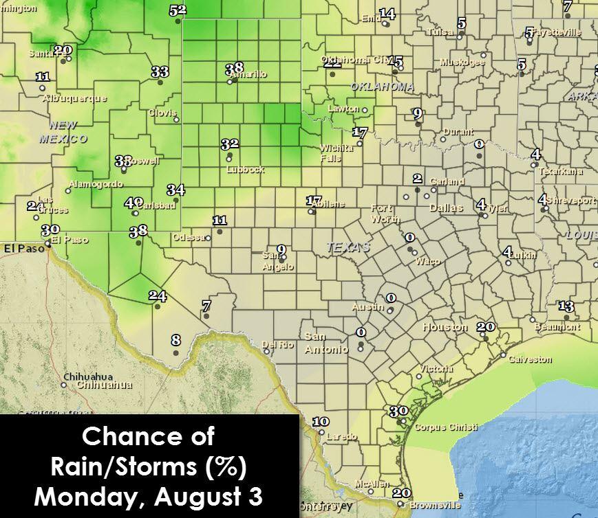 Forecast chance of rain/storms through 7 PM Monday