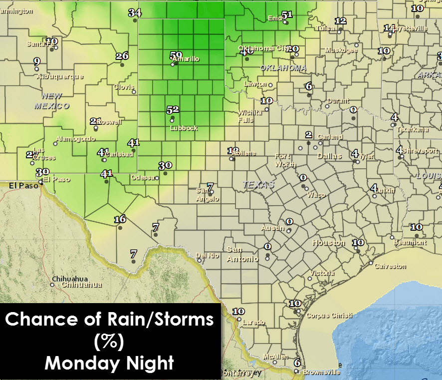 Forecast chance of rain/storms from 7 PM Monday through 7 AM Tuesday