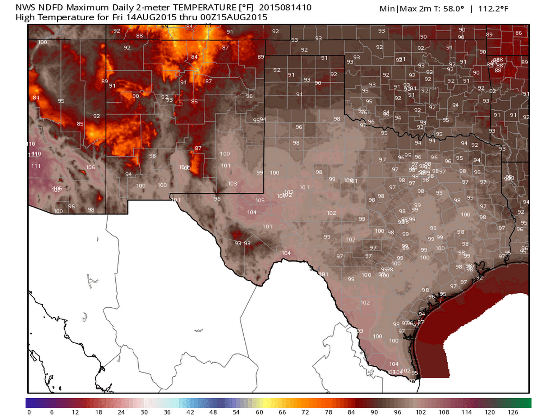 High Temperature Forecast for Friday, August 14