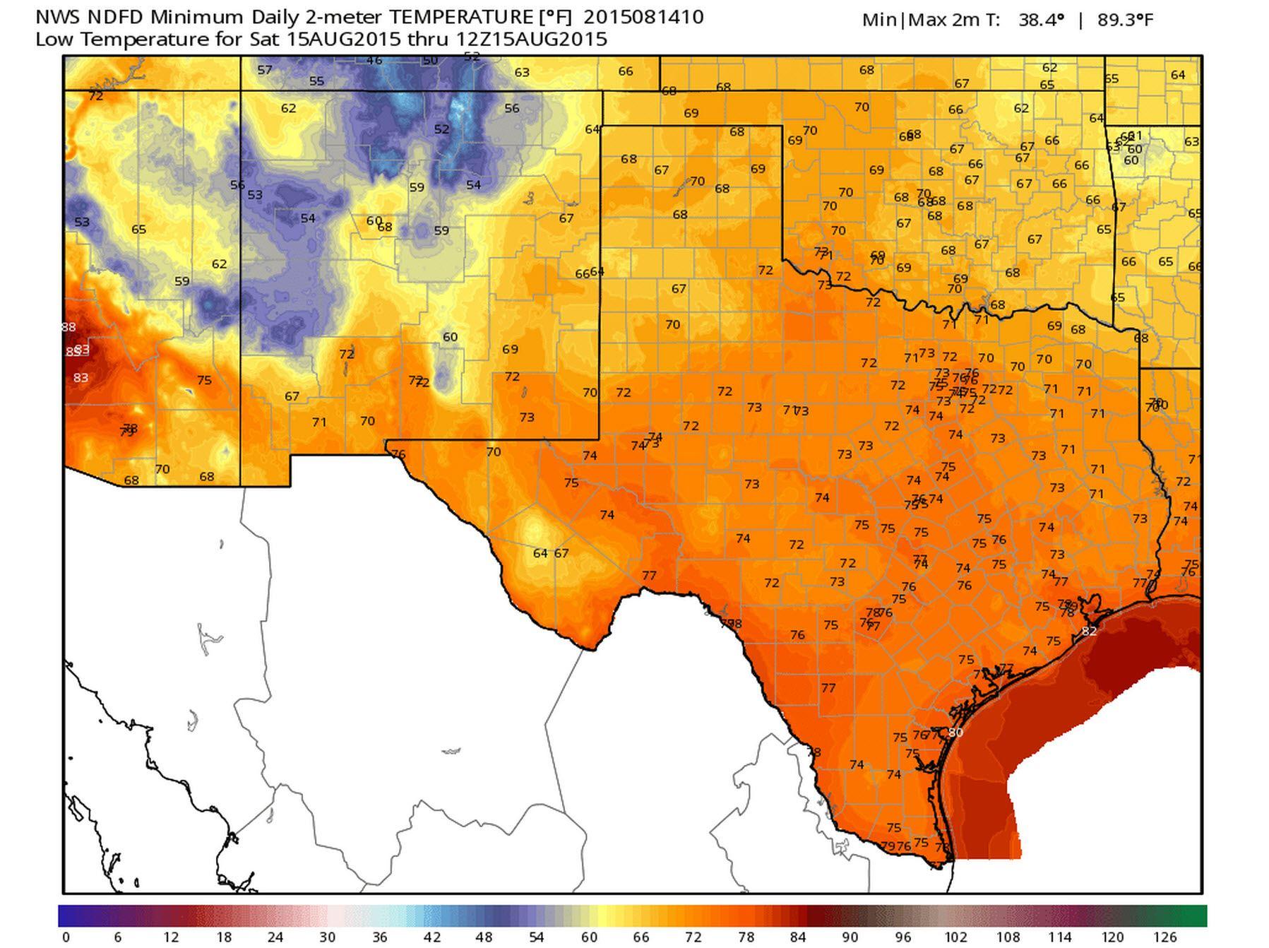 Low Temperature Forecast Tonight/Saturday Morning (8/15)