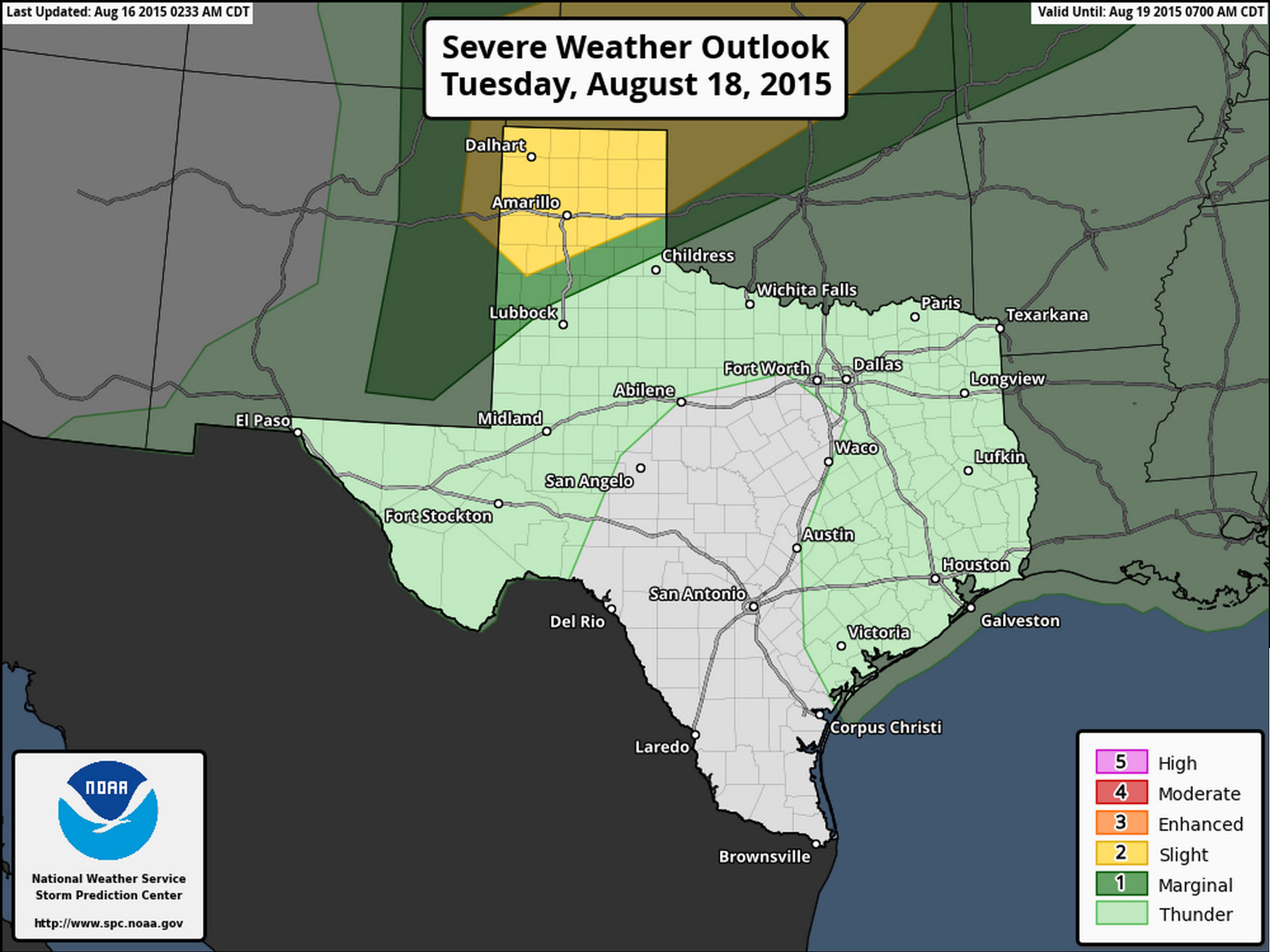Severe Weather Outlook for Tuesday