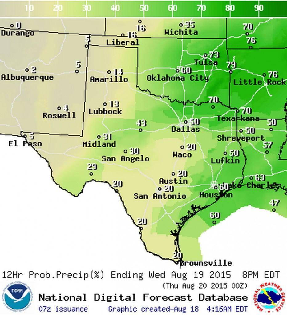 Chance of rain on Wednesday