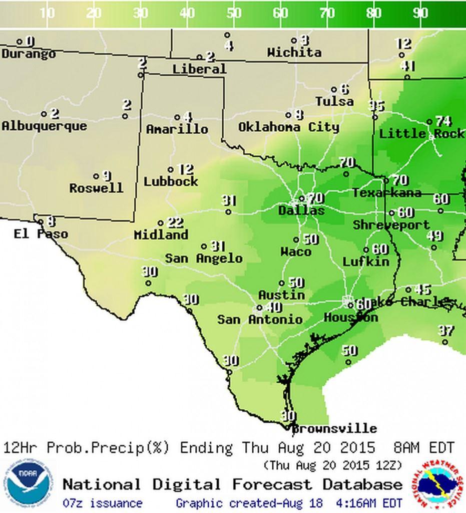 Chance of rain Wednesday Night