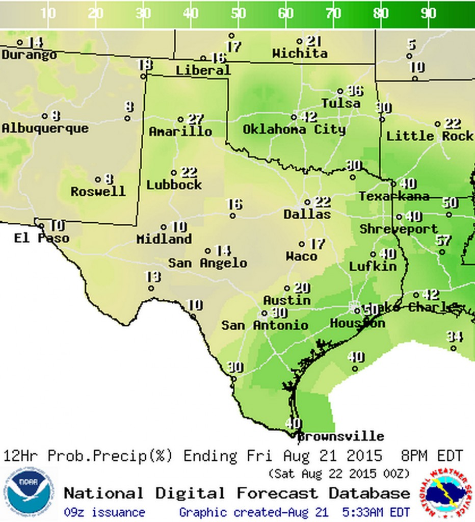 Chance of rain/storms in your area today
