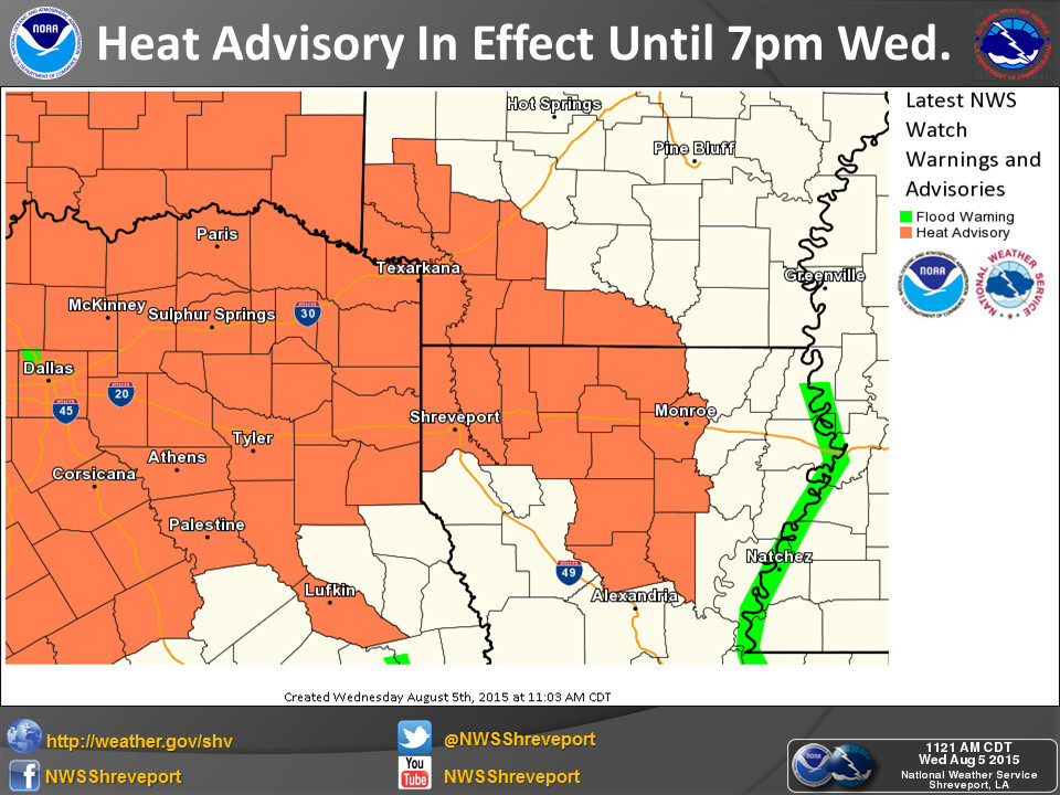 East TX Heat Advisory through 7pm Today
