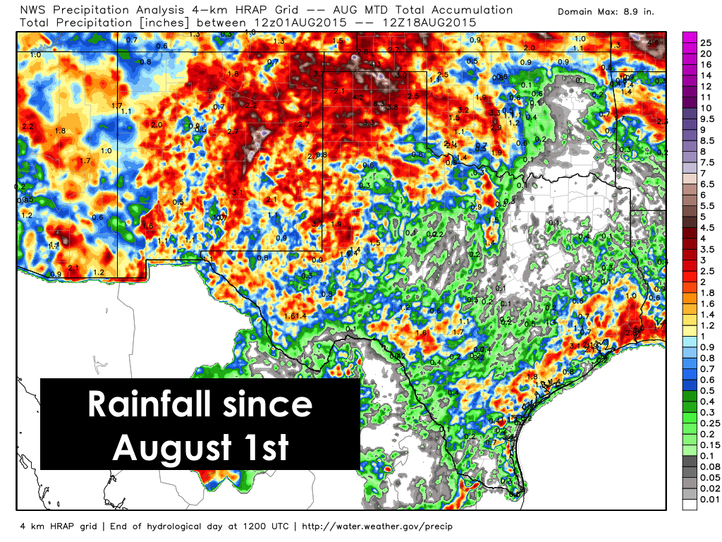 Rainfall since August 1st