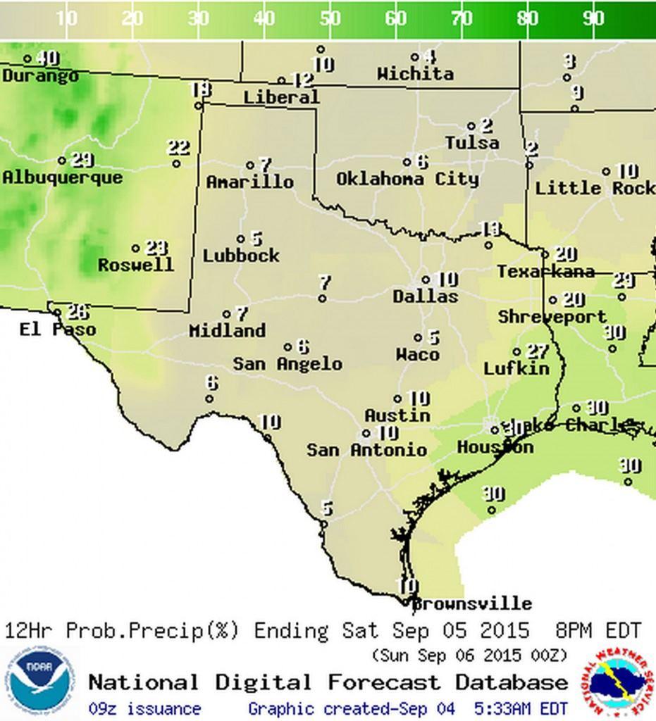 Chance of rain on Saturday (9/5)