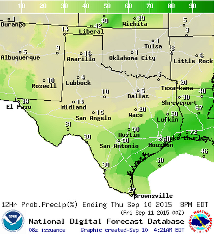 Chance of precipitation this morning and this afternoon.