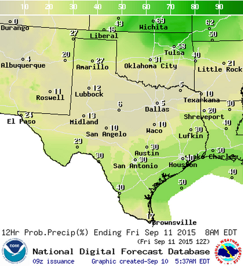 Chance of precipitation tonight.