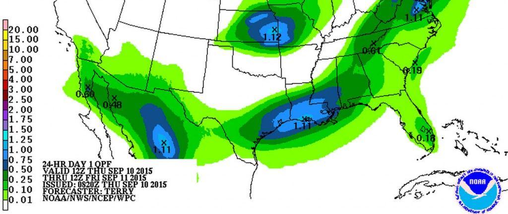 Rain accumulation forecast through Friday morning.