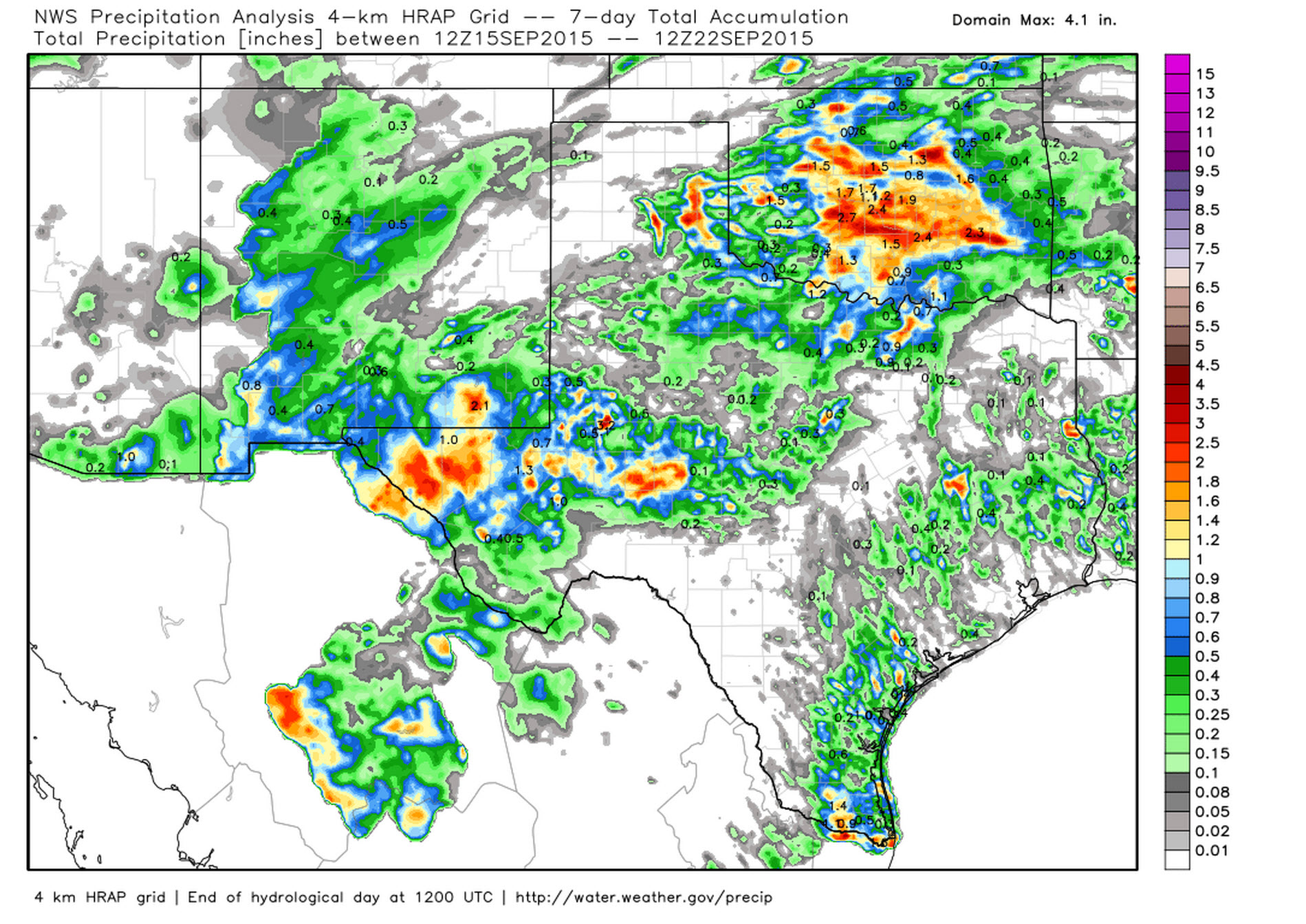 Rain accumulations over the past 7 days